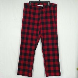Calvin Klein Womens XL Pajama Pants Black Red Buffalo Plaid Pull On Drawstring