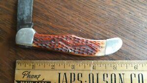 """Vintage CASE 6165 SAB Red Bone? 5 1/4"""" Folding Pocket Knife"""