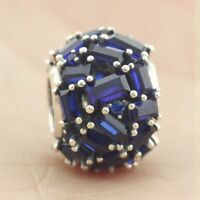 925 Sterling Silver Chiselled Elegance Charm Blue Crystal Bead For Christmas