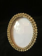 Oval Gilt Dore Bronze Antique Photo Picture Frame with French Paste Rhinestones