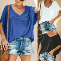 Summer Womens Short Sleeve V-Neck Pocket Loose Casual T Shirt Blouse Tops Shirt