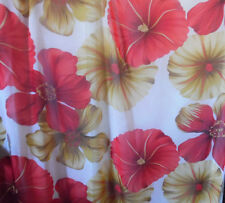 Ivory Red Beige Cream Floral Large Petal Chiffon Sheer Fabric By The Yard