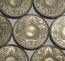 One 1944 WW2 WESTERN NUMERALS Thailand 1 Satang Chakra Tin Coin BE2487 Grade A