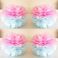 "4 14"" x  pink/blue tissue paper pompoms hanging baby shower party  decorations"
