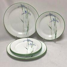 8 PIECE SET CORELLE SHADOW IRIS 3 SALAD PLATES 5 BREAD PLATES GREEN ON EDGE