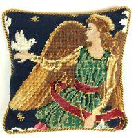 "Vtg Christmas Wool Needlepoint Petit Point Throw Pillow Angel Dove 10.5"" Sq"