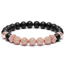 Men Luxurious Rose Gold Plated 8MM Matte Lava Beads Cubic Zircon Balls Bracelets