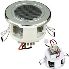 "2.5"" 6W Chrome Compact/Mini 100V Line Ceiling/Wall Speaker - Background Shop Bar"
