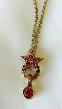 PILGRIM SWAROVSKI CRYSTAL GOLD PLATED Coral Red Star Necklace. PRICE $13.50