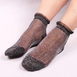 New 1pair Women Lace Socks Shiny Crystal Glass Silk Thin Ankles Short Sock UK