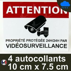 4 Autocollants videosurveillance dissuasif alarme video