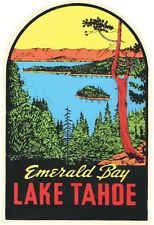 Lake Tahoe - Emerald Bay  CA NV  Vintage -1950's Style   Travel Sticker Decal
