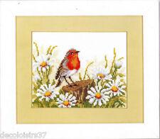 Vervaco  2002-70.330  Oiseau Rouge-Gorge Fleur  Kit  Point de Croix compté