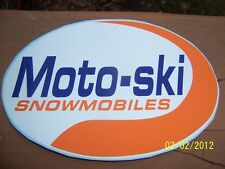 """4""""X 6"""" (NEW Vinyl) MOTO-SKI Snowmobiles STICKER (Orange, Blue and White)"""