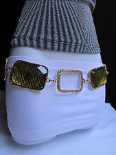 Women Belt Fashion Waist Hip Gold Leopard Big Squares Charms Metal Chain XS S M