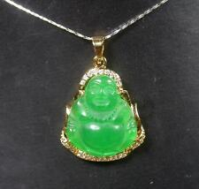 Gold Plate Green JADE Pendant Buddha Necklace Diamond (Imitation) 280534