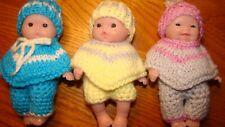 "Doll Clothes Crochet knit 3 sets 5"" Berenguer 3 ponchos 3 hats 2 pants 1 shorts"