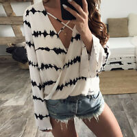 Women Loose Long Sleeve Tops Printed Chiffon Casual Blouse Cross Loose Shirts