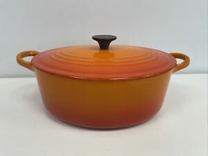Le Crueset Vintage Volcanic Orange Size C 25cm Oval Casserole Pot With Lid