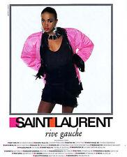 1987 YSL Yves Saint Laurent Rive Gauche Naomi Campbell Arthur Elgort MAGAZINE AD