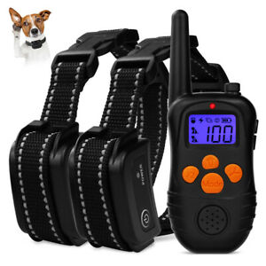 Rechargeable 300m LCD Remote Control Dog Shock Training Collar Waterproof Black