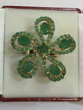 14k Solid Yellow Gold Flowers Ring with Natural Oval & Round Emerald6.25CT