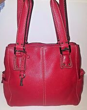 Red Pebbled Leather Fossil Brand Purse - Lots of pockets - Excellent Condition!