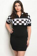 Womens Plus Size Black Checkered Dress 2XL Racer Racing Bodycon Stretch