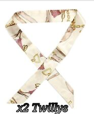 Brand New x2 Silk Twilly White Scarves Bag Charm for Handles or Hair Scarf Bow