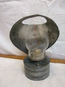Antique Tin Fluid Oil Lamp Lantern Reflector P&A Primitive Wall Sconce Handle