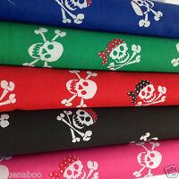 skulls & bandanas & crossbones polycotton fabric per fat quarter/ 1/2 metres