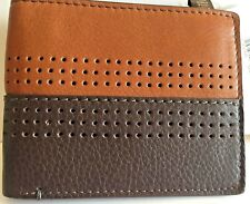 Fossil Wallet Cody Bifold Flip ID RFID Perforated Two-tone Brown Leather NWT