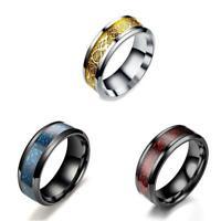 Celt Dragon Band Ring Herren Mode Stahl Titan Gold Silber Schwarz Größe 7 11