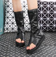 Women Leather Roman Mid Calf Boots Ring Toe Flat Platform Gladiator Sandal Shoes
