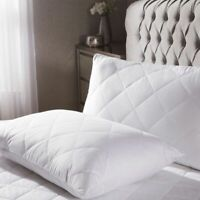 Quilted Pillowcase Protector Pair Zippered Pillow Case Cover Set STD Queen King