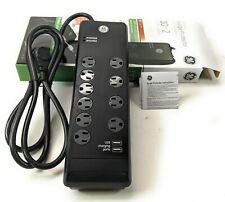 GE Premium Surge Protector 2 USB Port 10 Outlet 2.1 Amp 3000 Joule 6ft cables CC