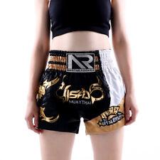 Unisex Muay Thai Shorts Gold Kick Boxing Mma Fights Martial Arts Black Trunks