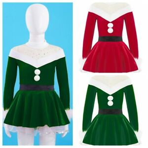 Kids Girls Christmas Outfit Dress Long Sleeves Xmas Velvet Fancy Party Costume