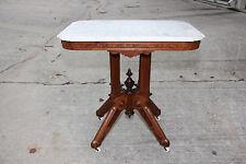 Fine Walnut Victorian Eastlake Cookie Corner Marble Top Table ~Ca.1880