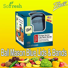 6 x Ball Mason Blue Series Regular Mouth Jar Lids with Bands Canning Preserving