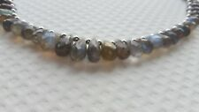 LABRADORITE FACETED DROPS, GREY AGATE FACETED ROUNDS/STERLING SILVER NECKLACE.