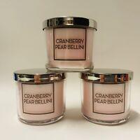 3 Bath & Body Works Cranberry Pear Bellini Medium Scented Candles 4 oz New