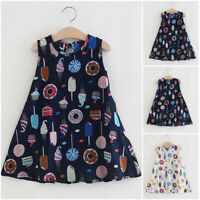 Toddler Baby Kids Girls Sleeveless Ice Cream Cake Print Dresses Casual Clothes
