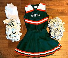 Real Full Cheerleader Cheerleading Uniform High School Green Orange White w Poms