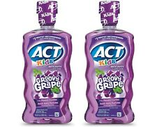 Act Kids Fluoride Mouthwash Rinse Groovy Grape 16.9 oz Each Pack of 2 NEW