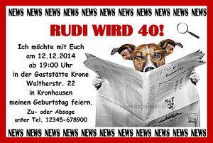 40 tierische lustige Einladungskarten Geburtstag Einladungen JEDES ALTER Party