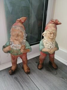Vintage Terracotta? Clay? Heissner Germany? Garden gnomes X2
