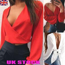 UK Deep V Neck Backless Crop Tops Ladies Womens Long Sleeve Casual Top Blouses