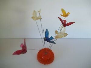Vtg RETRO Kinetic Birds Wires USA Sculpture Lucite Acrylic New Design AS-IS 70's