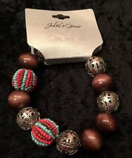 Jules & Gems stretchy bracelet brown silver small beaded balls NEW